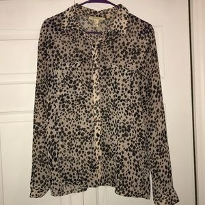 Cheetah print sheer blouse